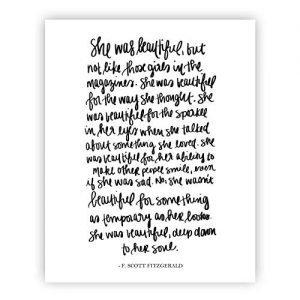 She Was Beautiful F. Scott Fitzgerald Print Art