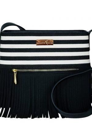 Boho City Fringe Crossbody Bag - Black Stripes
