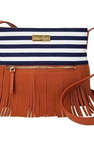 Boho City Fringe Crossbody Bag - Blue Stripes