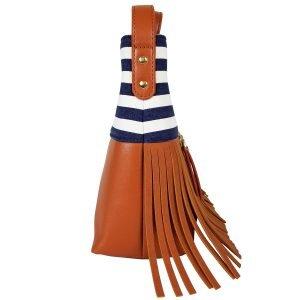 Boho City Fringe Crossbody Bag - Blue Stripes