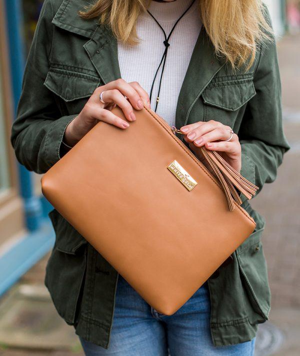 Lyra Tablet Clutch Bag - Brown Vegan Leather
