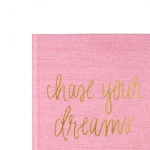 Chase Your Dreams Pink and Gold Fabric Journal