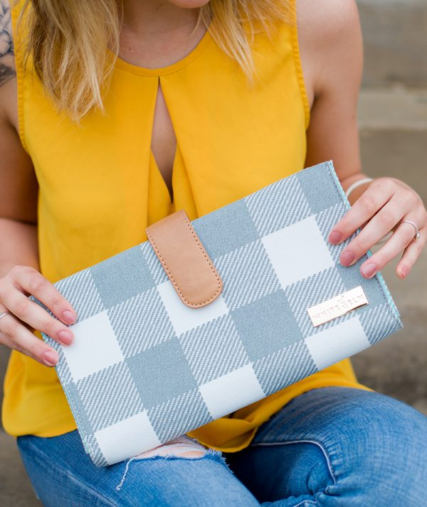 Juno Diaper Clutch Bag - Gray Buffalo Check