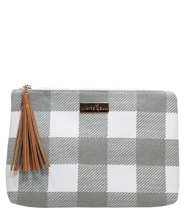 Lyra Tablet Clutch Bag - Gray Buffalo Check