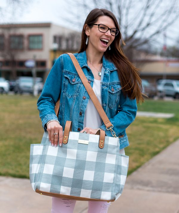 Aquila Tote Bag - Gray Buffalo Check