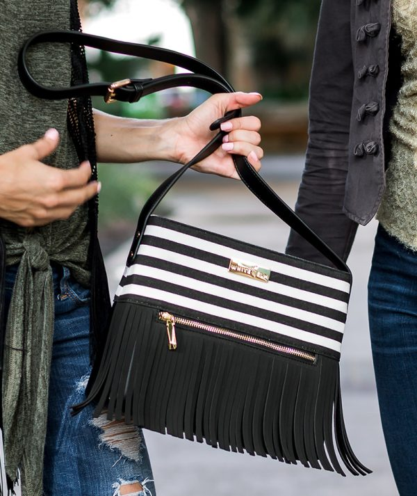 WhiteElmBlackFringeBohoCityHandbag