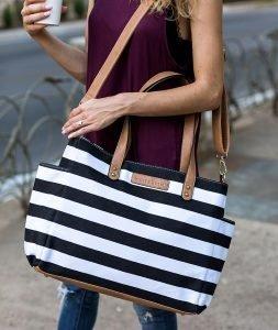 Aquila Stripe Tote Bag - Black