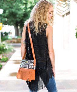 Boho City Fringe Crossbody Bag - Aztec