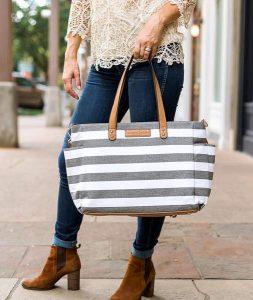 Aquila Stripe Tote Bag - Gray