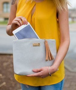 Lyra Tablet Clutch Bag - Gray Microsuede