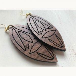 aztec wood earrings