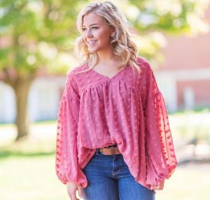 baloon sleeve pink blouse